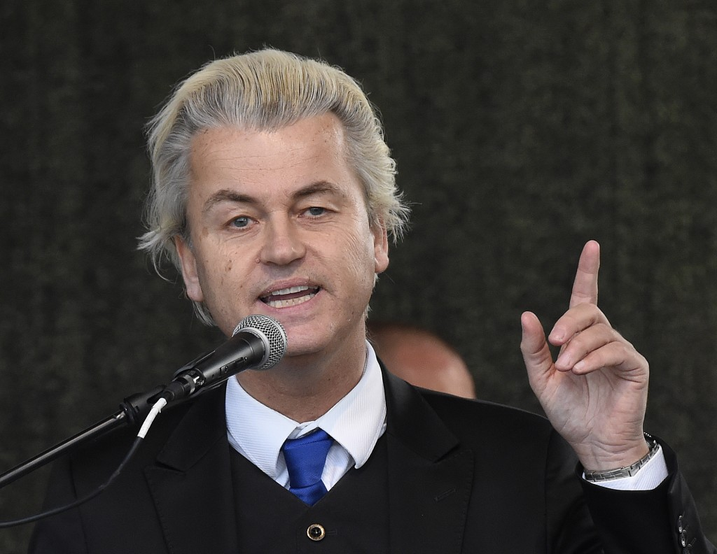 Geert Wilders, leader of the Dutch Party for Freedom Party, shown here speaking at a rally of 'Patriotic Europeans against the Islamization of the West' (PEGIDA) in Dresden, Germany, in April. (AP Photo/Jens Meyer)