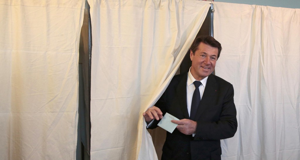 Christian Estrosi, mayor of Nice and Les Republicains political party candidate in the Provence-Alpes-Cote d'Azur (PACA) region, leaves the polling booth to cast his ballot in the second-round of the regional elections in Nice, France, December 13, 2015. REUTERS/Eric Gaillard