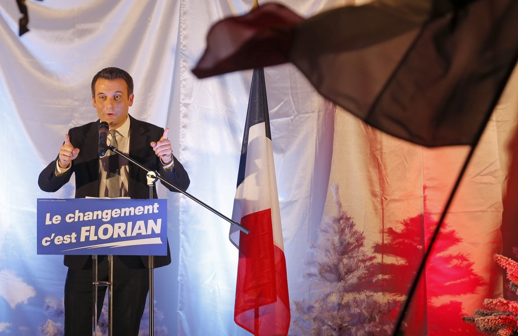 French far-right National Front political party vice-president Florian Philippot, candidate for the second round of the regional elections in the Alsace, Lorraine, Champagne-Ardenne region (ALCA), delivers a speech during a campain rally in Kintzheim, Eastern France, December 9, 2015. REUTERS/Vincent Kessler