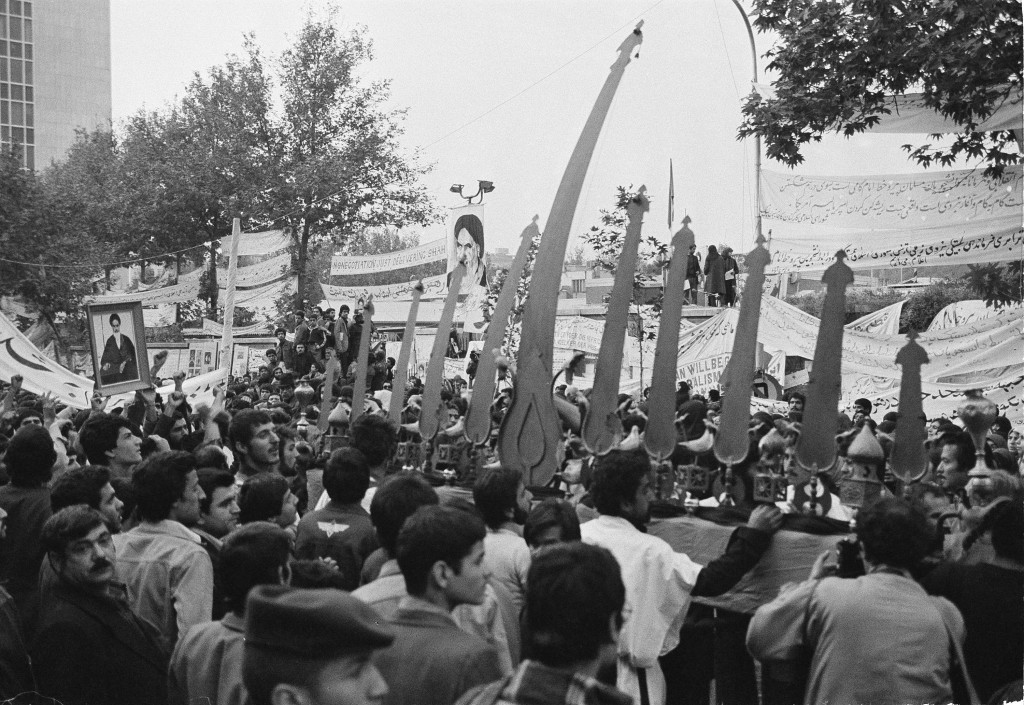 Iranian students outside the gates of the U.S. Embassy, where American hostages were being held, on Nov. 28, 1979. (AP Photo/Mohammad Sayad)