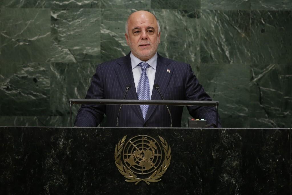 Iraqi Prime Minister Haider al-Abadi, whown here speaking at the U.N. in September. (AP Photo/Frank Franklin II)
