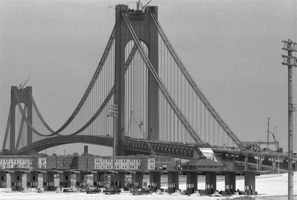 The Verrazano-Narrows Bridge, and its toll plazas, under construction on August 29, 1964. (AP Photo/stf)