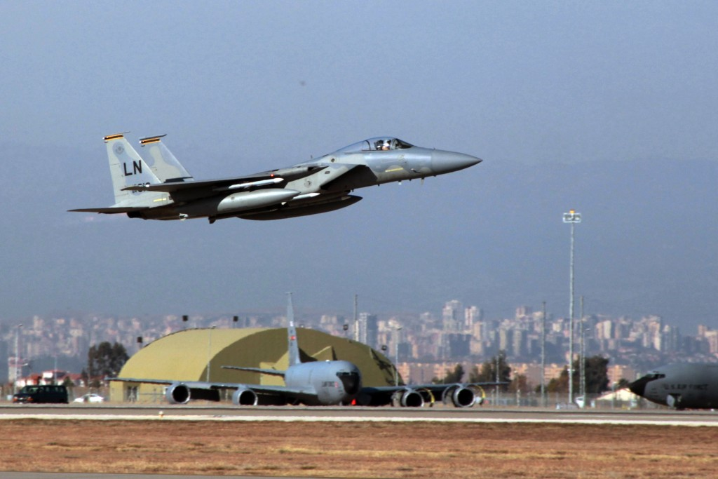 A U. S. Air Force F15 fighter jet takes off from the Incirlik Air Base near Adana, Turkey. (AP Photo)