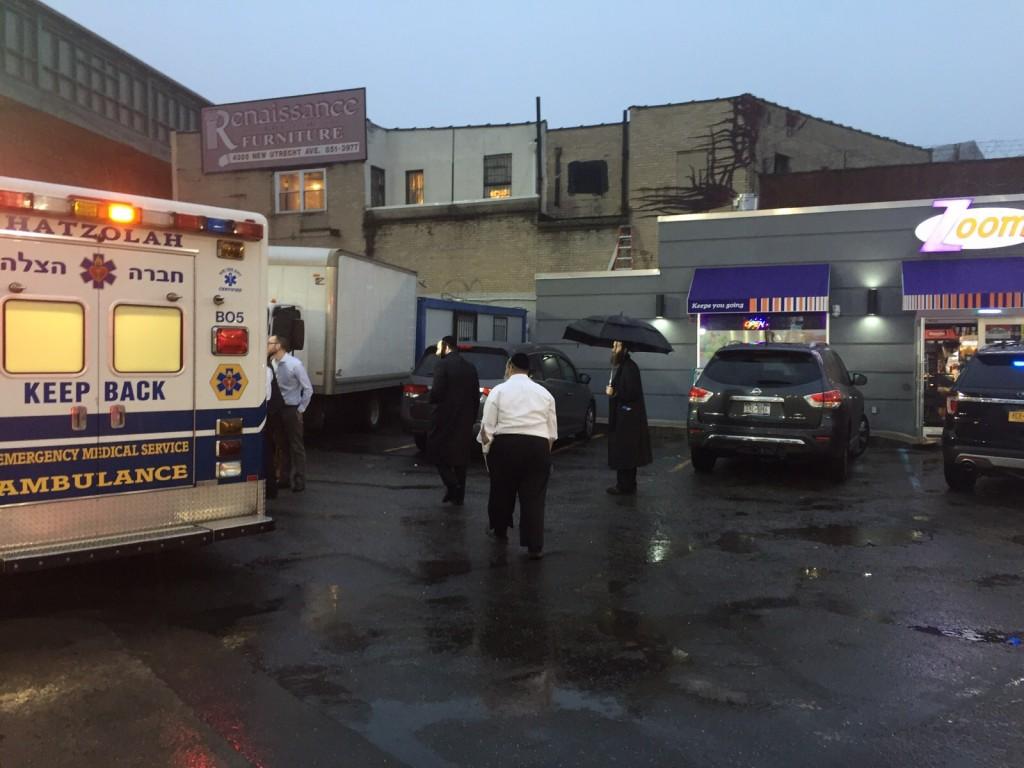 At the scene of the assault Wednesday. (Zalmen Brody)