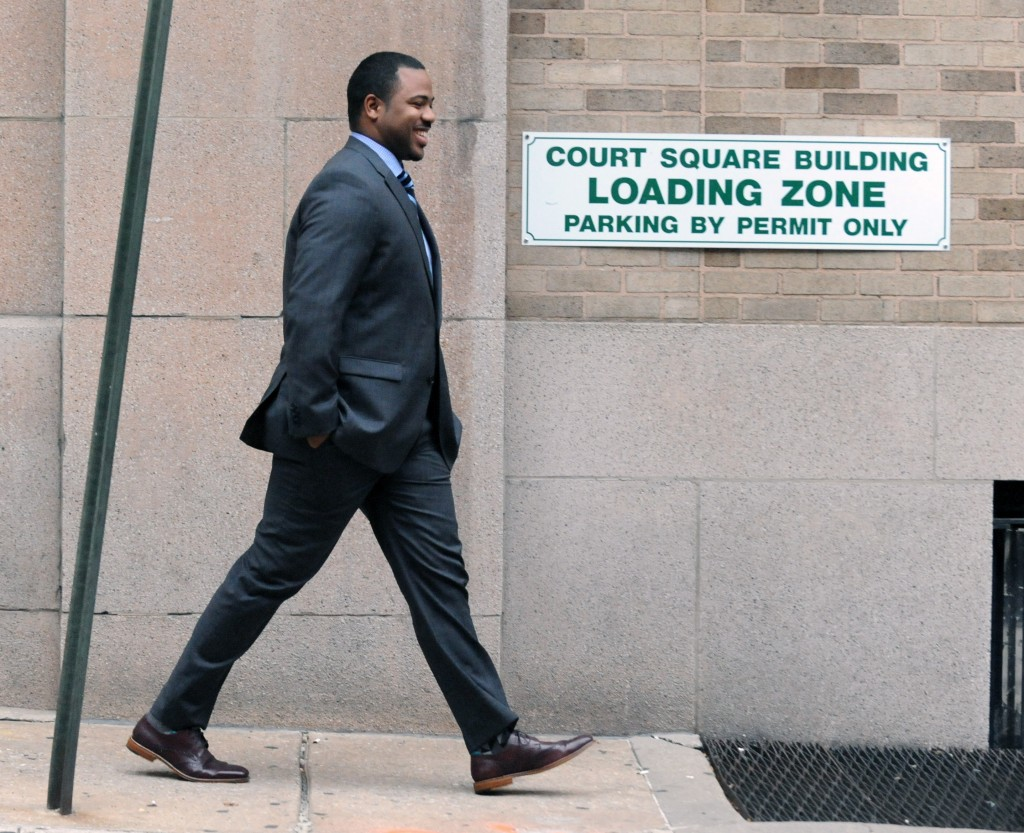 Baltimore City police officer William Porter leaves Courthouse East after his trial went into jury deliberation on Monday. (Kenneth K. Lam/Baltimore Sun via AP)