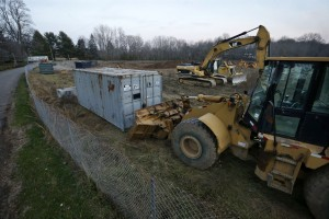 Heavy equipment is seen along Stonehouse Drive, where preparation for construction has begun at the Institute of Advanced Study, in Princeton, N.J. (AP Photo/Mel Evans)