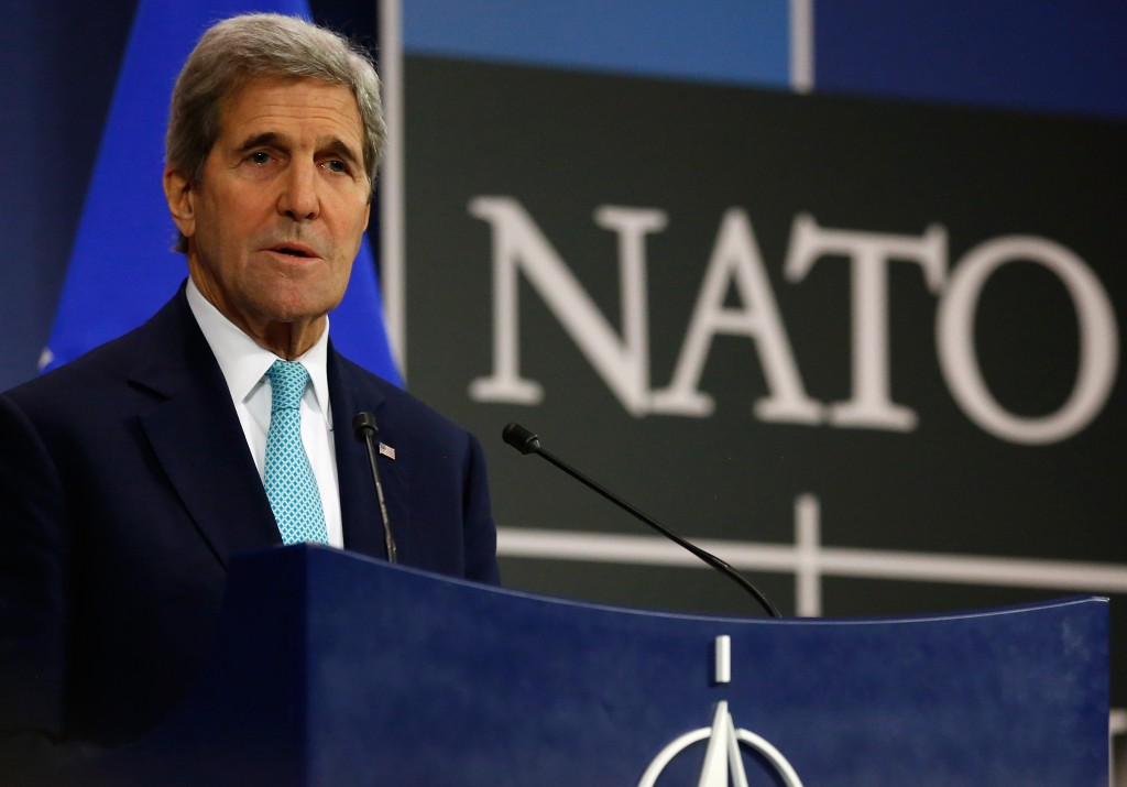 U.S. Secretary of State John Kerry holds a news conference at the NATO ministerial meetings at NATO Headquarters in Brussels, Wednesday Dec. 2, 2015. (Jonathan Ernst / Pool via AP)