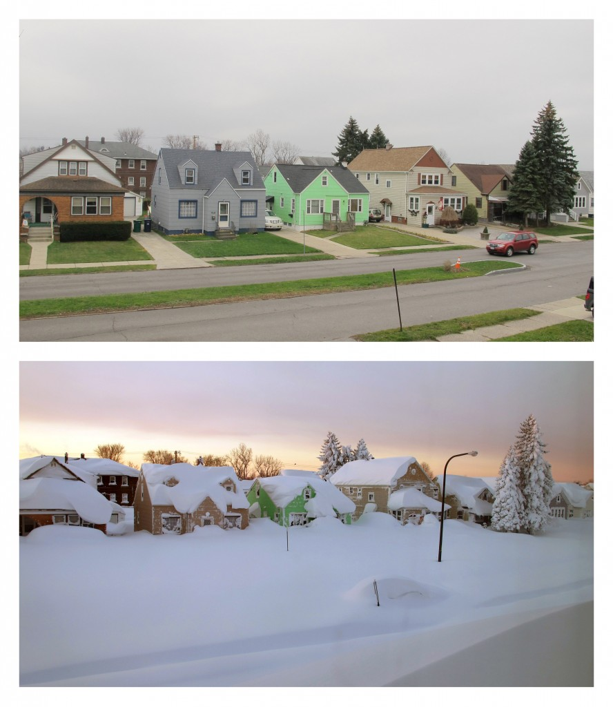 This combination of Dec. 4, 2015, top, and Nov. 19, 2014 photos shows homes in Buffalo.  (AP Photo/Carolyn Thompson)