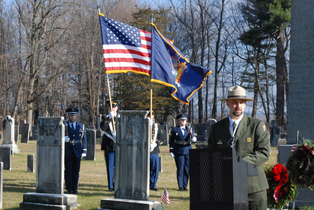 Justin Monetti, the superintendent of the National Park Service's Martin Van Buren Historic Site, speaks Saturday during a ceremony at his gravesite in Kinderhook, N.Y. (New York National Guard)