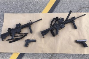 Weapons confiscated from last Wednesday's attack in San Bernardino, California are shown in this San Bernardino County Sheriff Department handout photo from their Twitter account released to Reuters December 3, 2015. REUTERS/San Bernardino County Sheriffs Department/Handout ATTENTION EDITORS - THIS IMAGE HAS BEEN SUPPLIED BY A THIRD PARTY. IT IS DISTRIBUTED, EXACTLY AS RECEIVED BY REUTERS, AS A SERVICE TO CLIENTS. FOR EDITORIAL USE ONLY. NOT FOR SALE FOR MARKETING OR ADVERTISING CAMPAIGNS