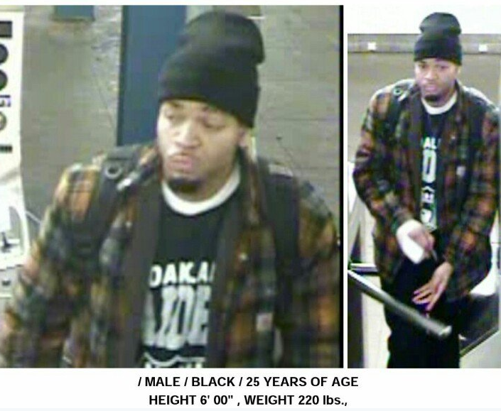 Images of the suspected subway stabber released by the 112th Precinct on Twitter.