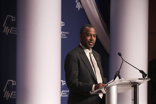 Ben Carson addressing the Republican Jewish Coalition at the Ronald Reagan Building and International Trade Center in Washington on Dec. 3. (Alex Wong/Getty Images)