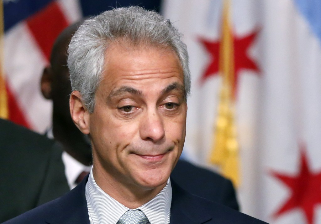 Chicago Mayor Rahm Emanuel at Wednesday's news conference. (AP Photo/Charles Rex Arbogast)