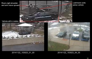 A combination of still images taken from a surveillance video and released on Nov. 28, 2015, by the Cuyahoga County Prosecutor's Office, that shows Cleveland police officers arriving at Cudell Park on a report of a man with a gun. Twelve-year-old Tamir Rice was fatally shot by Cleveland police on Nov. 22, 2014, after he reportedly pulled a replica gun at the city park. (Cuyahoga County Prosecutor's Office via AP, File)