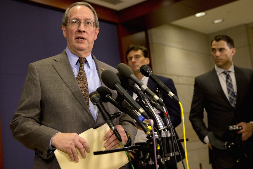 House Judiciary Chairman Rep. Bob Goodlatte, R-Va. speaks to the media on Capitol Hill in Washington, Thursday, Dec. 10, 2015, after being briefed by FBI Director James Comey on the California shootings. (AP Photo/Jacquelyn Martin)