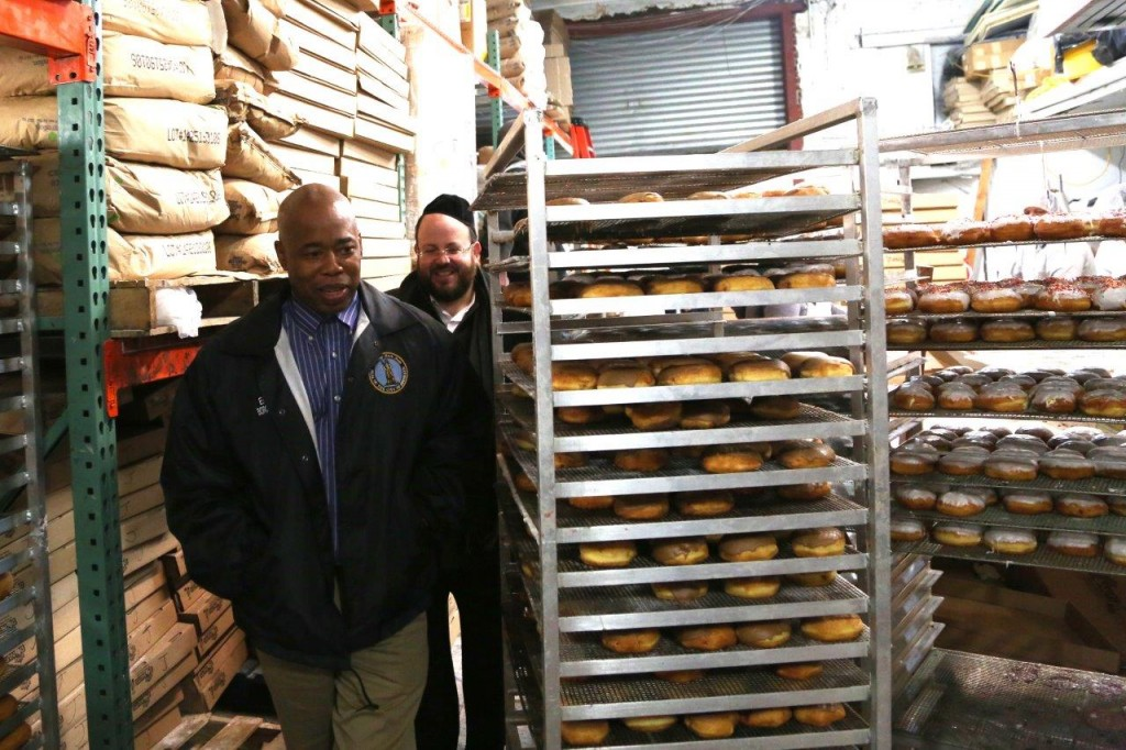Brooklyn Boro President Eric Adams visiting the Royal Donuts Headquarters in Boro Park (JDN)