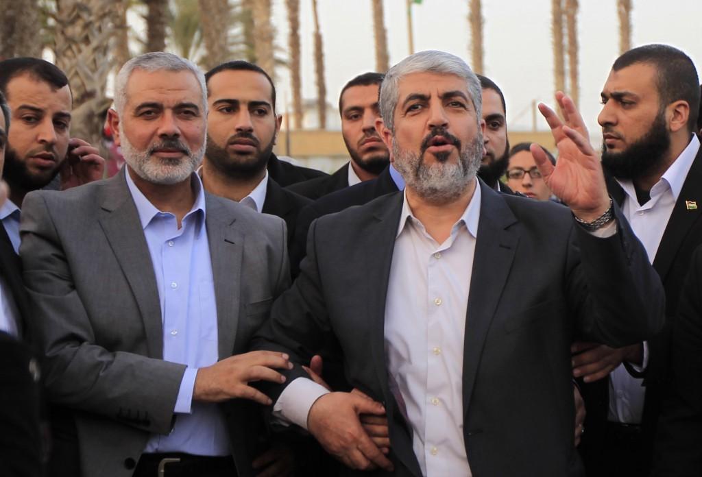 Hamas leader in exile Khaled Meshaal (C). (Abed Rahim Khatib/Flash90)