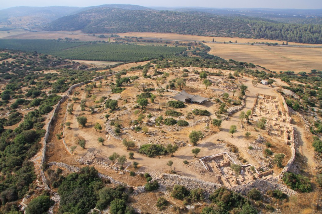 Aerial view of the excavation site of Khirbet Qeiyafa near Beit Shemesh, Israel, July 17, 2013. Photo by Pascal Partouche / Skyview/ The Hebrew University of Jerusalem / Israel Antiquities Authority / Flash90