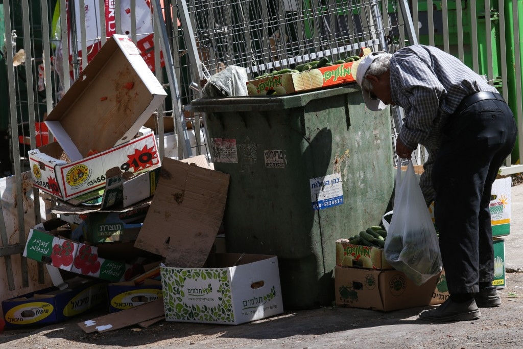 An elderly man searches among the garbage near the food market in the central Israeli city of Petah Tikva, June 24, 2015. Photo by Nati Shohat/FLASH90