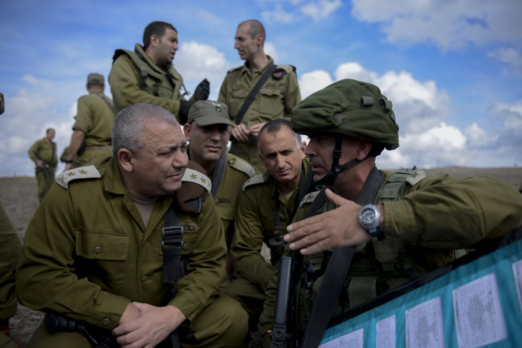 IDF Chief of Staff Gadi EIzenkot seen during a visit at an army exercise of the Golani Brigade, in the Golan Heights on October 27, 2015. Photo by Gefen Reznik/IDF Spokesperson