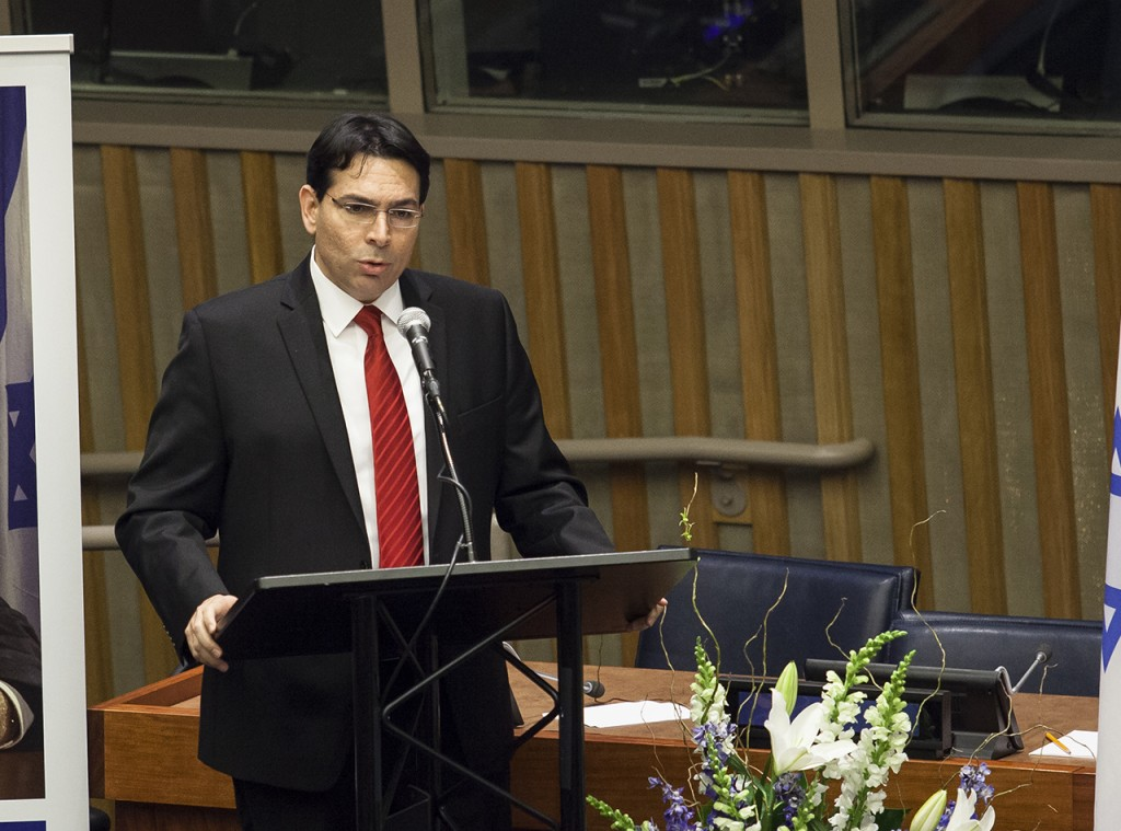 Israeli Ambassador to the UN, Danny Danon, speaks during the special event commemorating the UN resolution that compared Zionism to Racism, held by the Permanent Mission of Israel to the UN together with the Yad Chaim Herzog Association and AJC, on November 11, 2015. On November 10th 1975, then Israel's Ambassador to the UN, Chaim Herzog, delivered one of the most influential speeches in history denouncing the UN resolution that equated Zionism with Racism. Photo by Amir Levy/Flash90