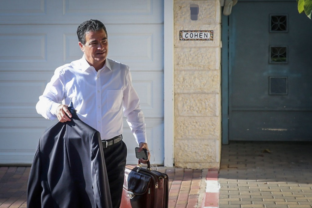 Yossi Cohen, former head of the national security council, seen leaving his home Tuesday morning, the day after Prime Minister Binyamin Netanyahu announced that Cohen was selected as the new head of Mossad. (Flash90)
