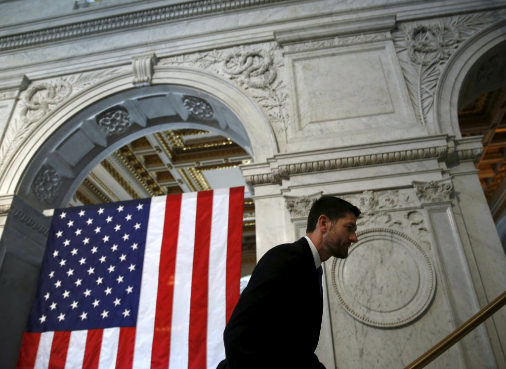 U.S. House Speaker Paul Ryan exits the Great Hall at the Library of Congress after delivering a policy speech in Washington earlier this month. (Reuters/Gary Cameron)