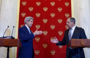 U.S. Secretary of State John Kerry (L) and Russian Foreign Minister Sergei Lavrov during a joint news conference at the Kremlin in Moscow on Tuesday. (Reuters/Mandel Ngan/Pool)