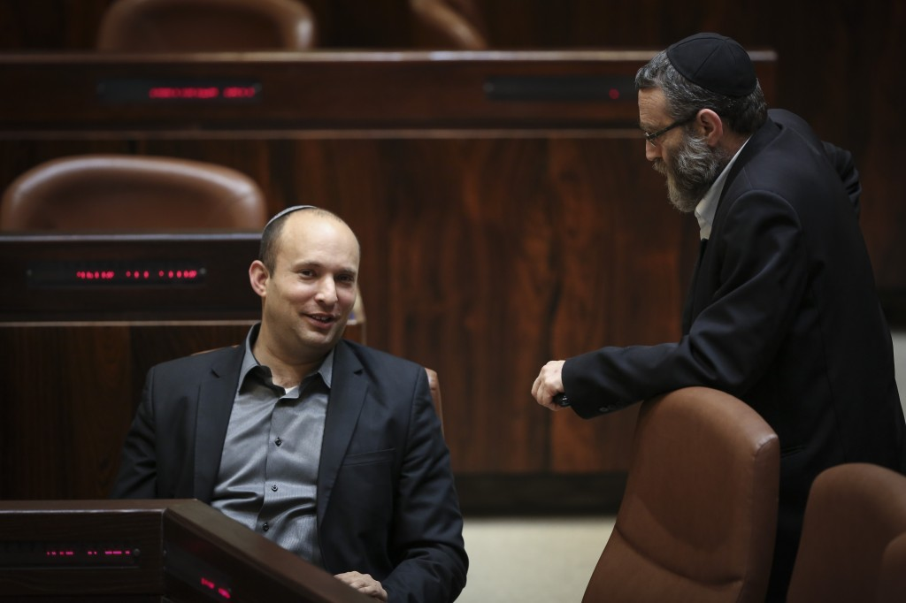 Education Minister Naftali Bennet and Knesset Finance Committee chairman MK Moshe Gafni. Photo by Hadas Parush/Flash90