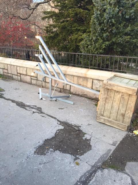 The toppled menorah Sunday night outside Gracie Mansion, in Carl Schurz Park. (Chabad.org)