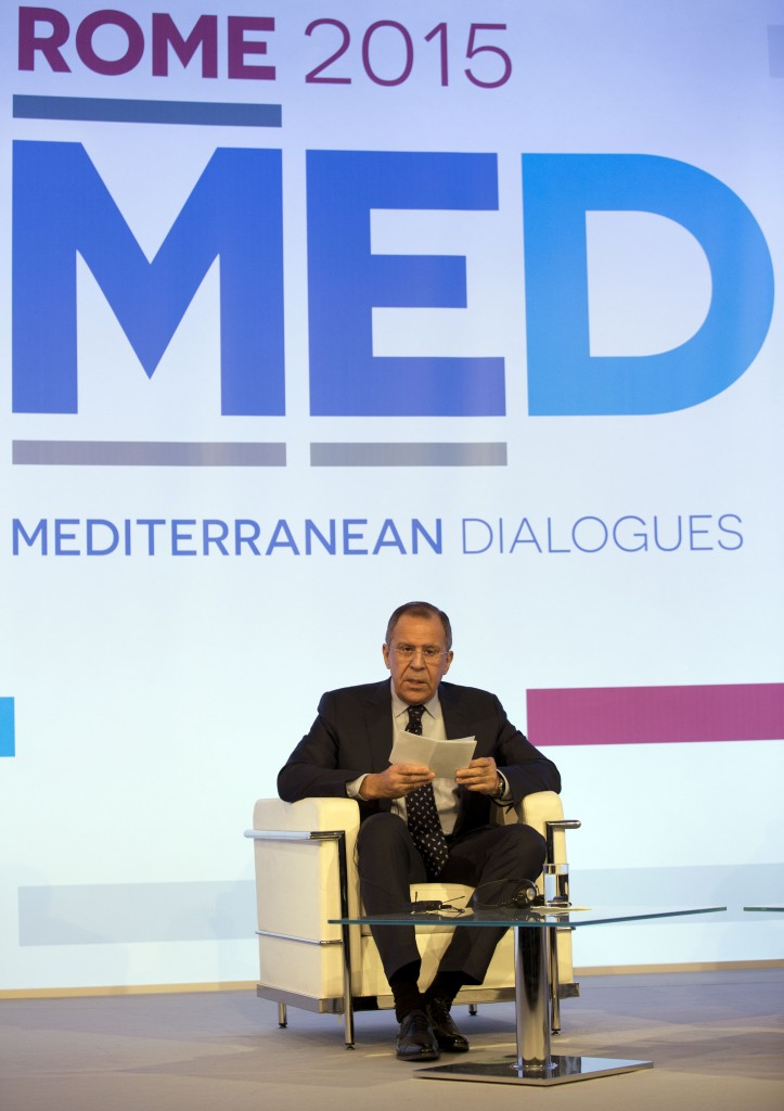 Russian Foreign Minister Sergey Lavrov speaking at the Mediterranean Dialogues Conference Forum in Rome on Friday. (AP Photo/Andrew Medichini)