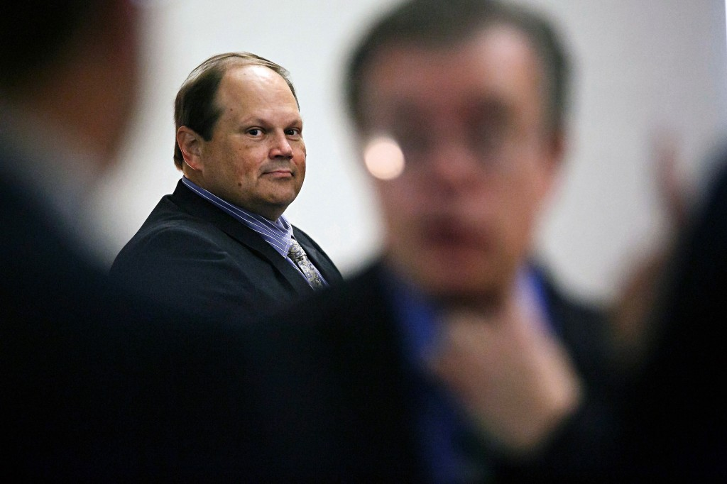 FILE - In this July 15, 2015 file photo, Eddie Tipton looks over at his lawyers before the start of his trial in Des Moines, Iowa. The former security director of the Multi-State Lottery Association, accused of tampering with lottery drawings to rig jackpots in four states, was convicted of fraud in the attempt to claim a $16.5 million jackpot in Iowa. (Brian Powers/The Des Moines Register, File)