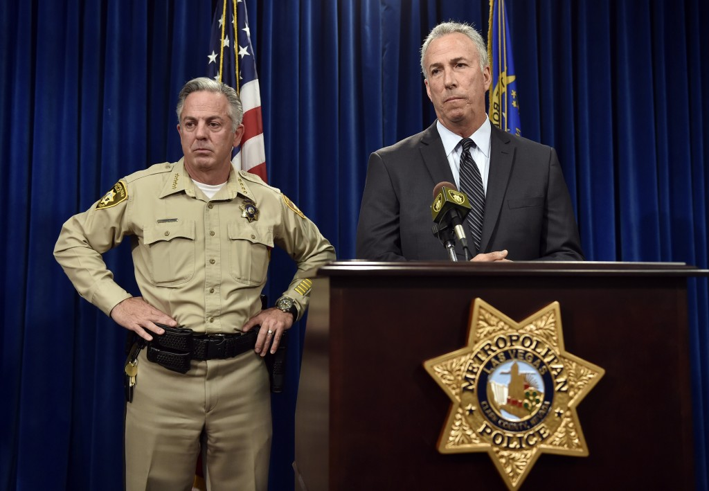 Clark County Sheriff Joe Lombardo, left, and Clark County District Attorney Steve Wolfson at Monday's news conference in Las Vegas. (AP Photo/David Becker)