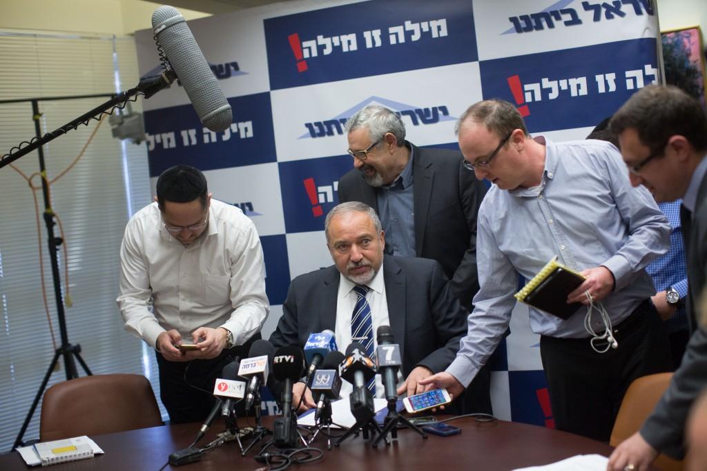 Yisrael Beitenu leader Avigdor Lieberman. (Yonatan Sindel/Flash90)