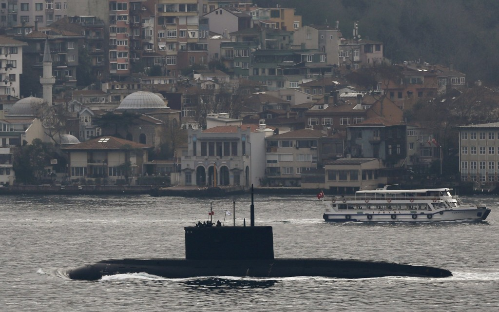 Russia's diesel-electric submarine Rostov-on-Don sets sail in the Bosphorus, on its way to the Black Sea, in Istanbul, Turkey, December 13, 2015. REUTERS/Murad Sezer