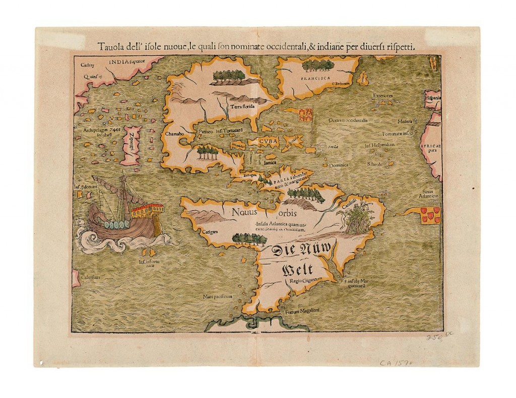 This photo provided courtesy of Swann Auction Galleries shows a German map produced in the mid-16th century that is among the historic maps and atlases for sale Tuesday, Dec. 8, 2015, at Swann's Auction Galleries in New York City (Courtesy of Swann Auction Galleries via AP)