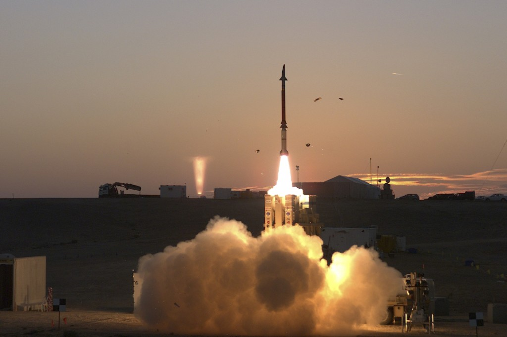 This photograph provided by the Israeli Ministry of Defense on Monday Dec. 21, 2015 shows a launch of David's Sling missile defense system. David's Sling is intended to counter medium-range missiles possessed by enemies throughout the region, most notably the Lebanese Shiite militant group Hezbollah. The system also aims to protect against low-altitude cruise missiles fired from longer distances. (Ministry of Defense via AP)