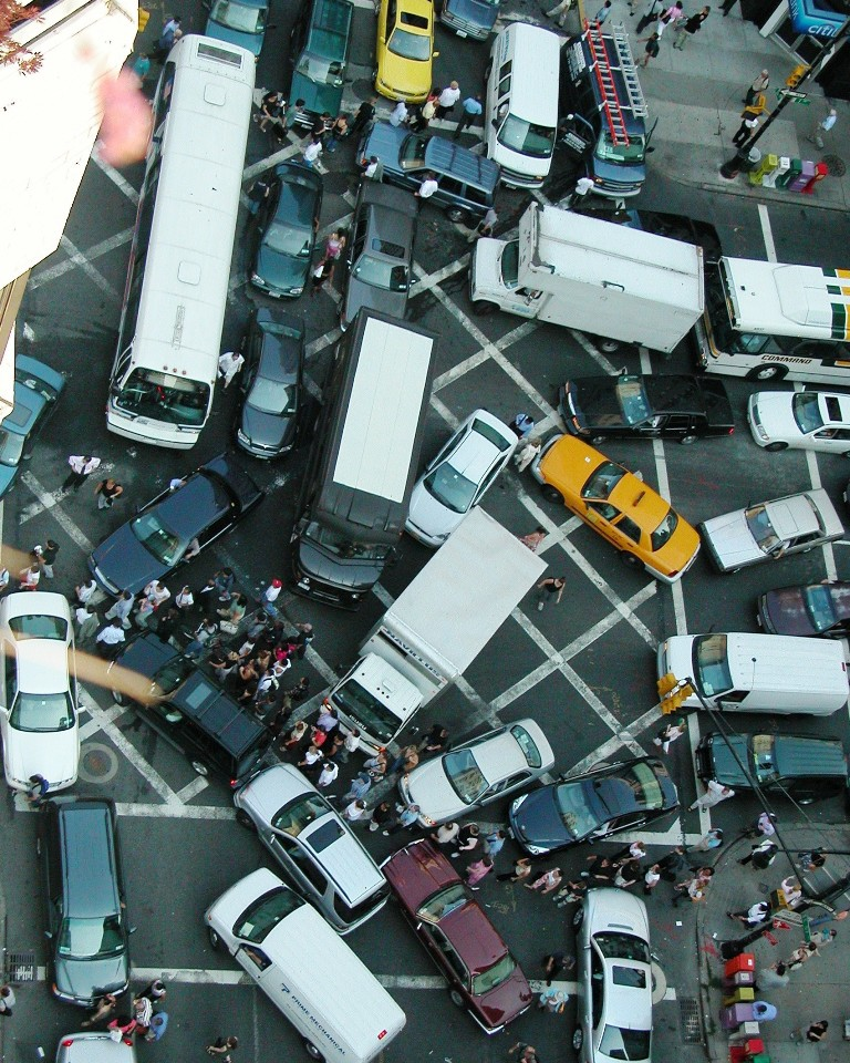 Gridlock at the intersection of 1st Avenue and 57th Street in Manhattan. (Wikipedia)