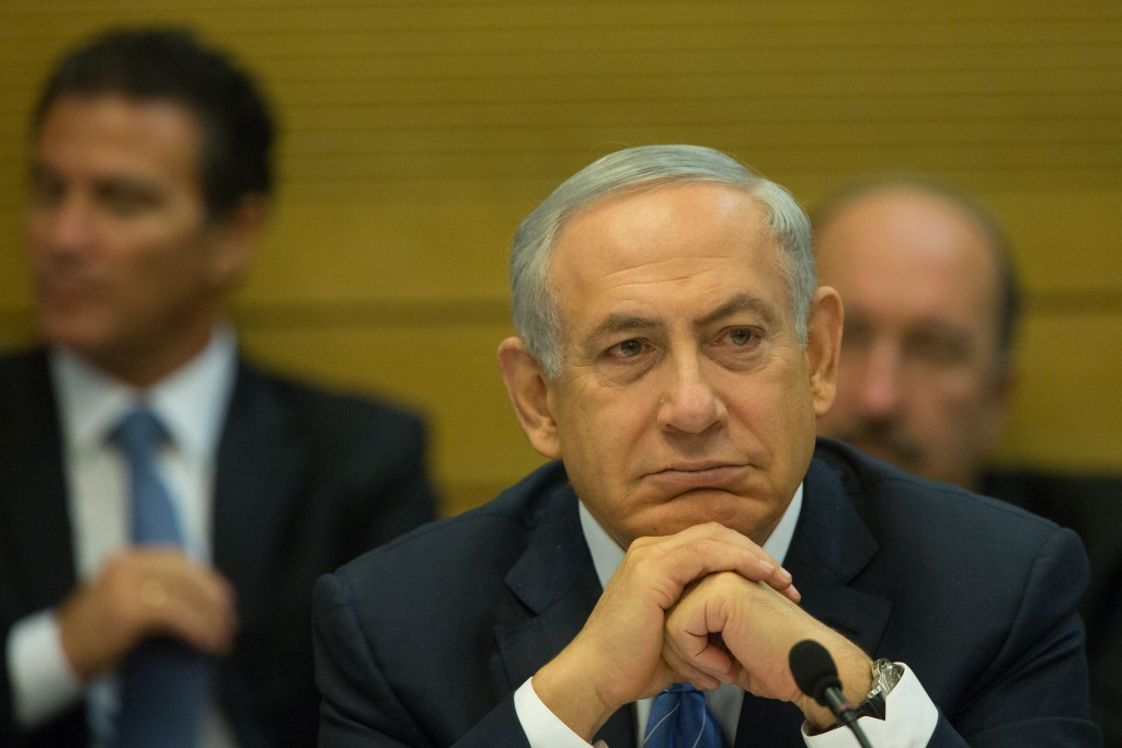 Prime Minister Binyamin Netanyahu at the Knesset on Tuesday. (Yonatan Sindel/Flash90)