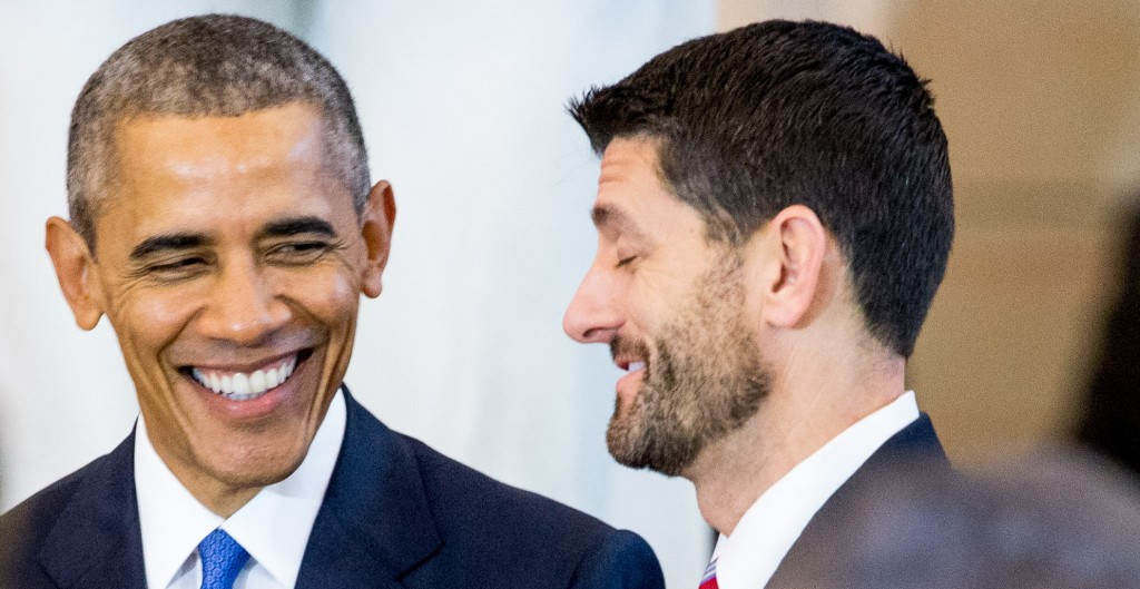 President Barack Obama, left, speaking with House Speaker Paul Ryan on Dec. 9, during a commemoration ceremony for the 150th anniversary of the ratification of the 13th Amendment, in Emancipation Hall on Capitol Hill. (AP Photo/Andrew Harnik)