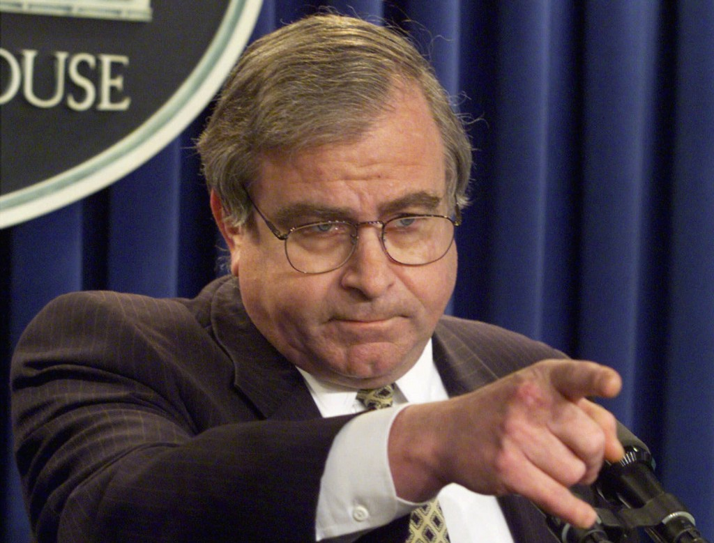 In this March 25, 1999 photo, then-National Security Adviser Sandy Berger answers questions in the White House briefing room. (AP Photo/Ron Edmonds)