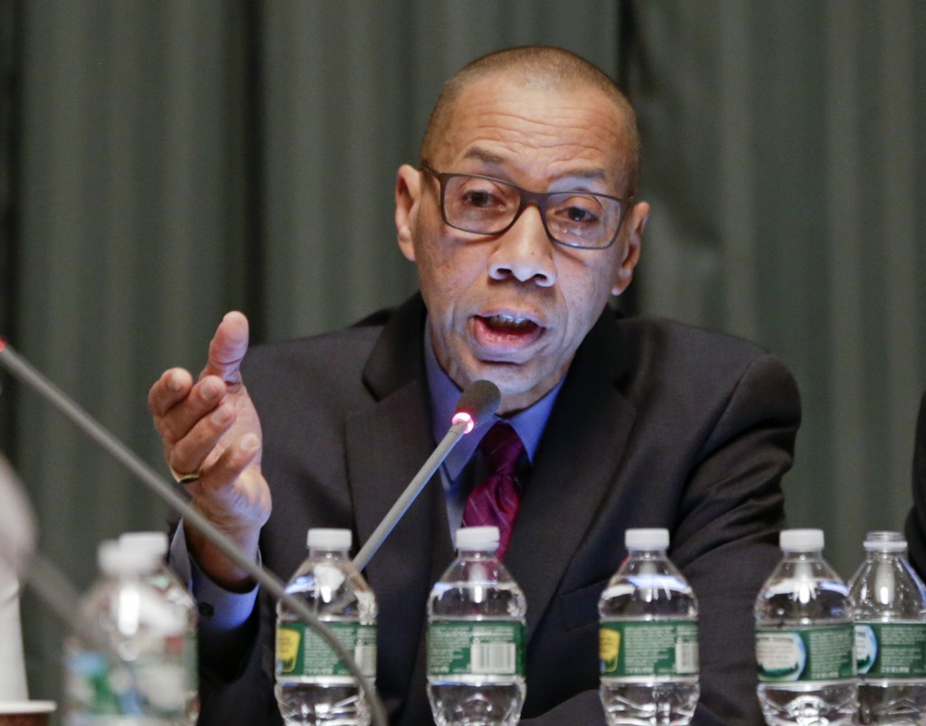 Dennis Walcott presenting recommendations for the East Ramapo school district during a meeting of the Board of Regents at the State Education Building in Albany on Monday. (AP Photo/Mike Groll)