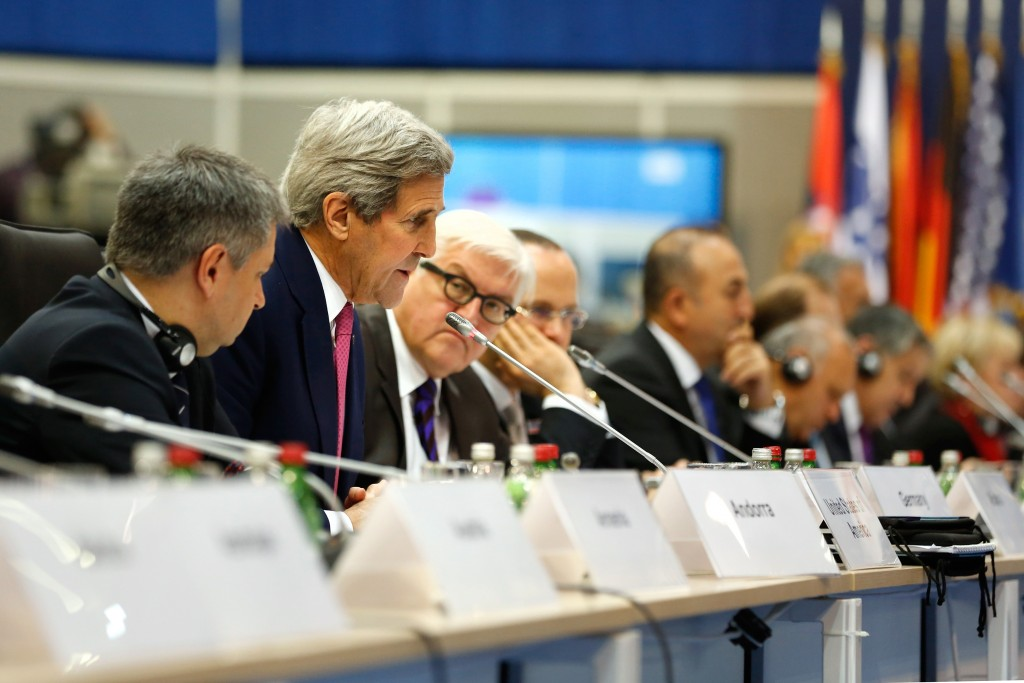 US Secretary of State John Kerry, talks during the OSCE Ministerial Council meeting, in Belgrade, Serbia, Thursday, Dec. 3, 2015. Foreign Ministers attended the opening session at the Organisation for Security and Cooperation in Europe (OSCE) summit in Belgrade on Thursday. (Jonathan Ernst, Pool Photo via AP)
