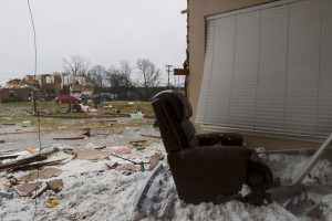 A recliner in what was the living room of a home in in Copeville, Texas. (Rachel Woolf/The Dallas Morning News via AP)