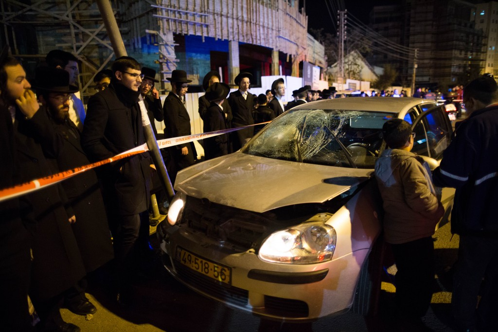 At the scene of Sunday night's attack. (Yoanatn Sindel/Flash90)