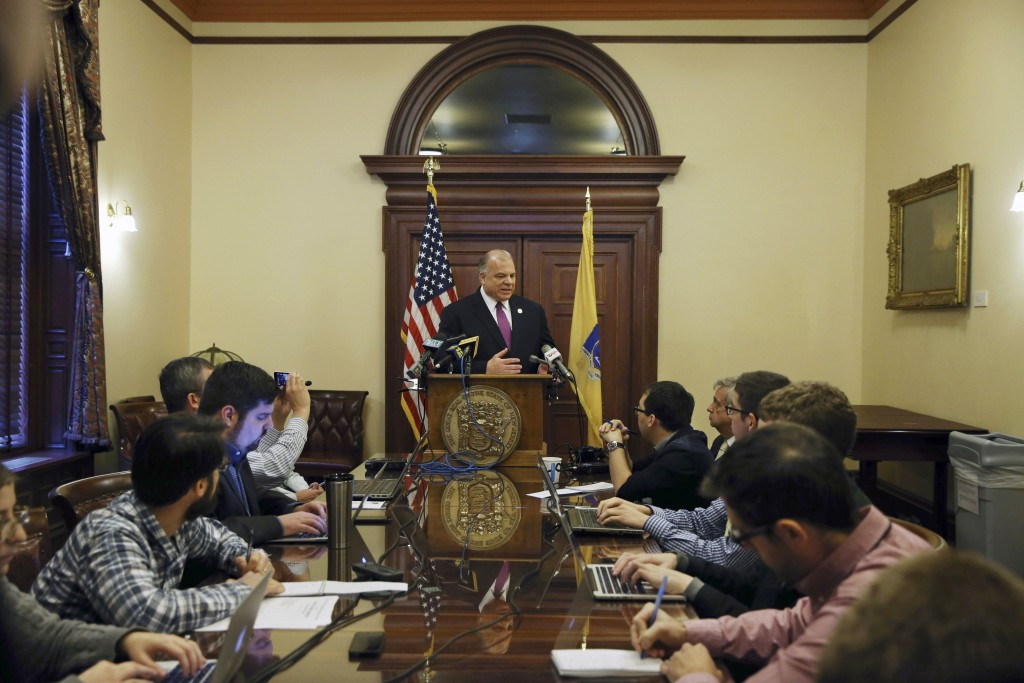 New Jersey Senate President Steve Sweeney talks about a constitutional amendment requiring the state to make quarterly public pension payments at the Statehouse in Trenton, N.J. (AP Photo/Mel Evans)