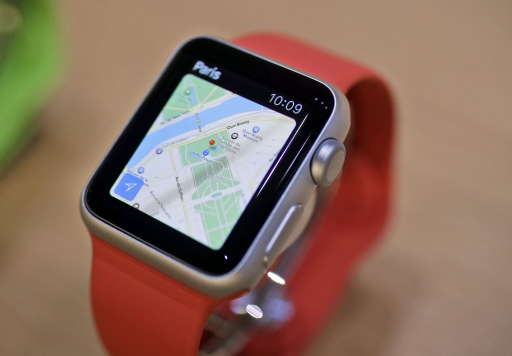 The Apple Maps app is displayed on an Apple Watch. (AP Photo/Eric Risberg, File)