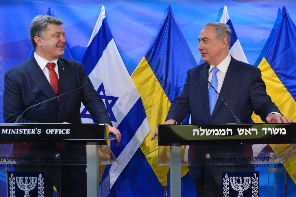 Israeli Prime Minister Binyamin Netanyahu holds a joint press conference with Ukranian President Petro Poroshenko in Yerushalayim on Tuesday. (Kobi Gideon/GPO)