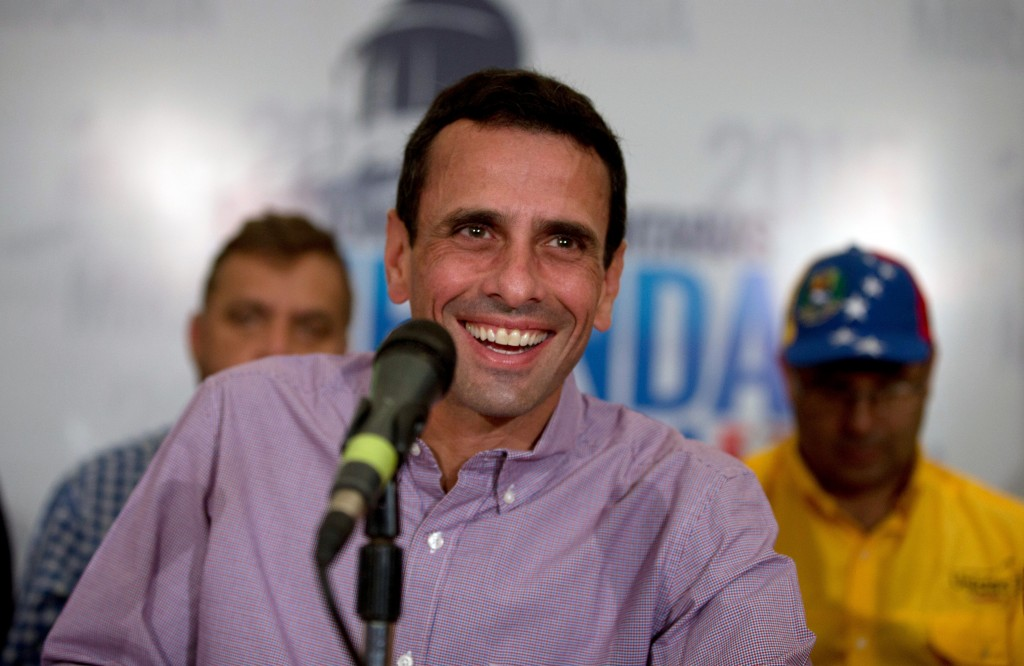 Leader of opposition party Primero Justicia, Henrique Capriles, who's also governor of Miranda state, gives a press conference at his office in Caracas on Monday. (AP Photo/Fernando Llano)