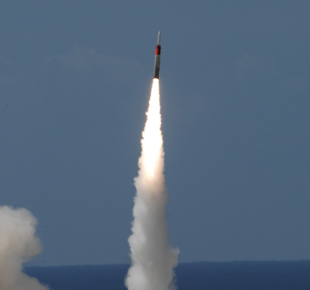 An Arrow 3 missile is fired in this 2013 test. Photo by IAI via Tsahi Ben-Ami / Flash 90.